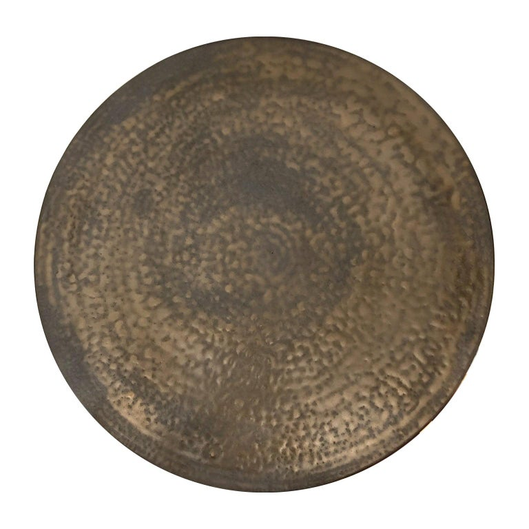 Circular Ceramic Wall Sculpture #4 with Dappled Bronze Glaze by Sandi Fellman For Sale