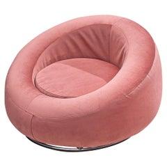 Circular Club Chair in Pink Velvet