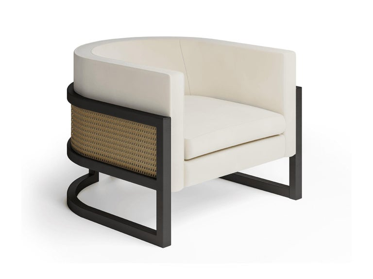 Mid-Century Modern Circular Contemporary Armchair in Black Oakwood and Natural Cane For Sale