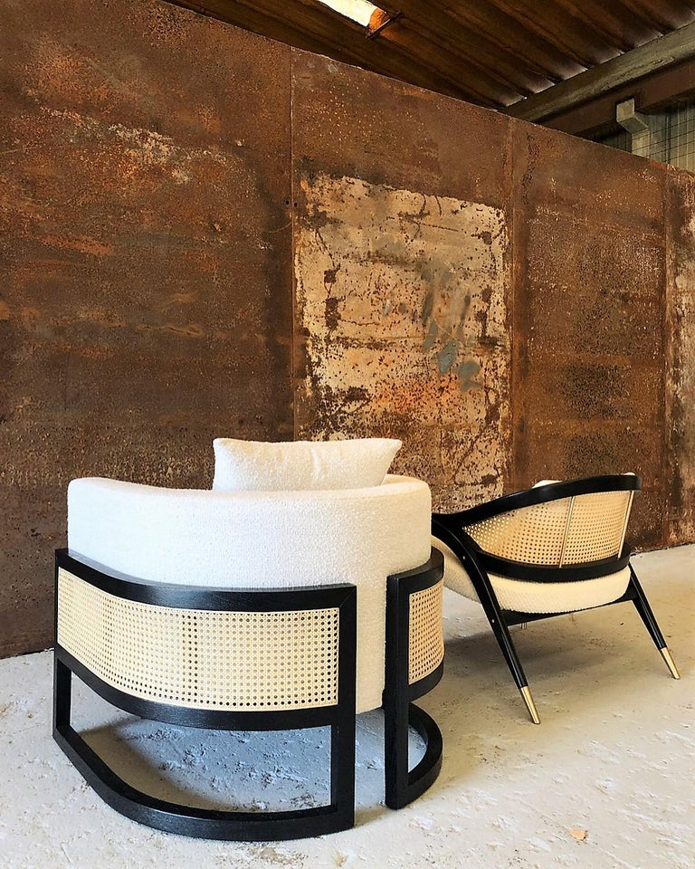 Portuguese Circular Contemporary Armchair in Black Oakwood and Natural Cane For Sale