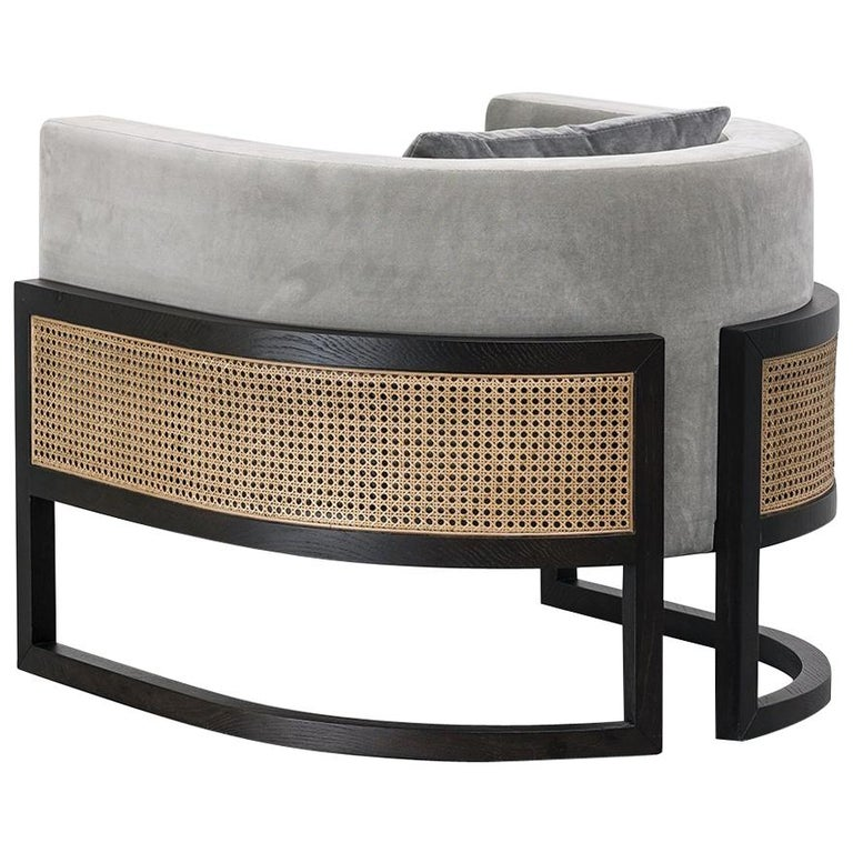 Circular Contemporary Armchair in Black Oakwood and Natural Cane For Sale
