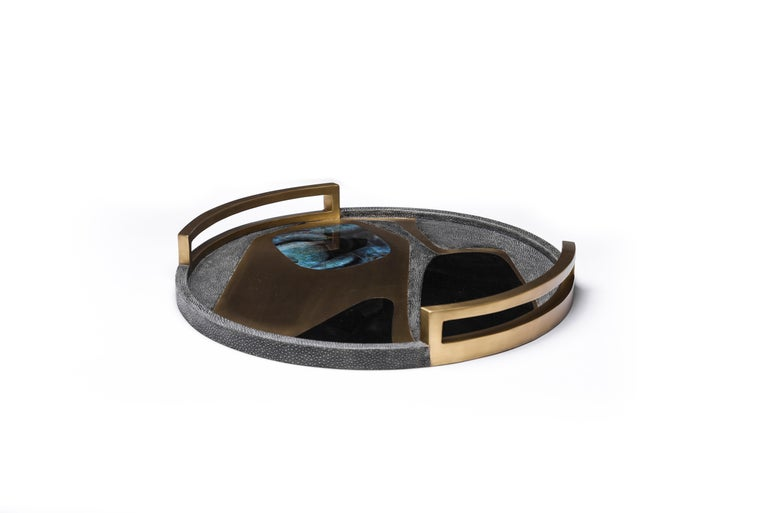 Art Deco Circular Cosmos Tray in Black Shagreen, Blue Pen Shell and Brass by R&Y Augousti For Sale