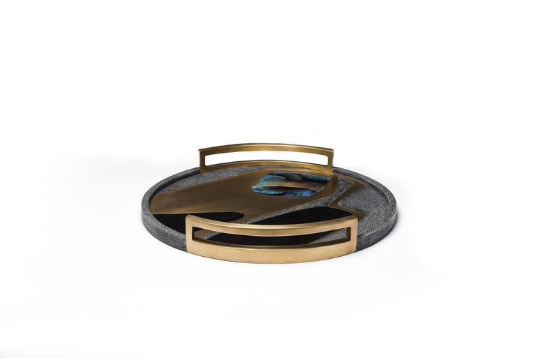 French Circular Cosmos Tray in Black Shagreen, Blue Pen Shell and Brass by R&Y Augousti For Sale
