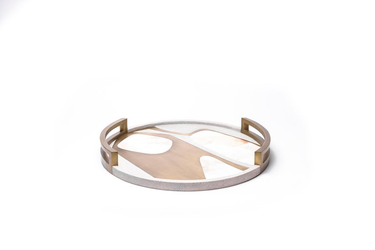 Hand-Crafted Circular Cosmos Tray in Black Shagreen, Blue Pen Shell and Brass by R&Y Augousti For Sale