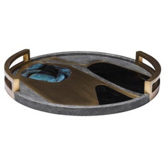 Circular Cosmos Tray in Black Shagreen, Blue Pen Shell & Brass by R&Y Augousti