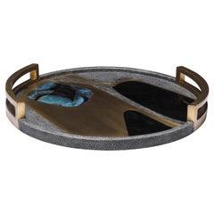 Circular Cosmos Tray in Black Shagreen, Blue Pen Shell & Brass by R&Y Augousti