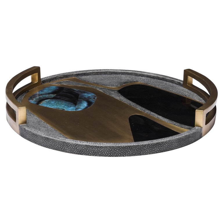 Circular Cosmos Tray in Black Shagreen, Blue Pen Shell & Brass by R&Y Augousti For Sale