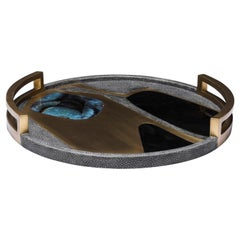 Circular Cosmos Tray in Black Shagreen, Blue Pen Shell and Brass by R&Y Augousti