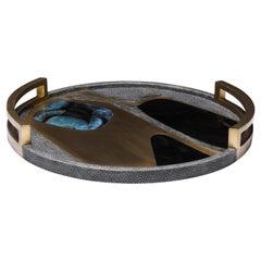 Circular Cosmos Tray in Black Shagreen, Blue Pen Shell and Brass by R&Y Augousti