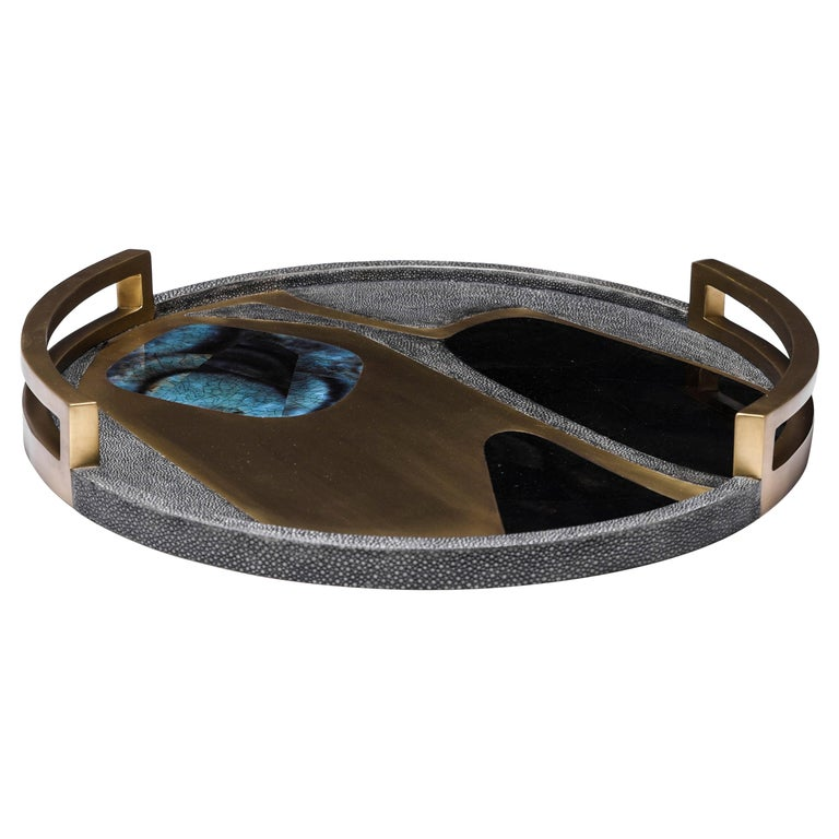 Circular Cosmos Tray in Black Shagreen, Blue Pen Shell and Brass by R&Y Augousti For Sale