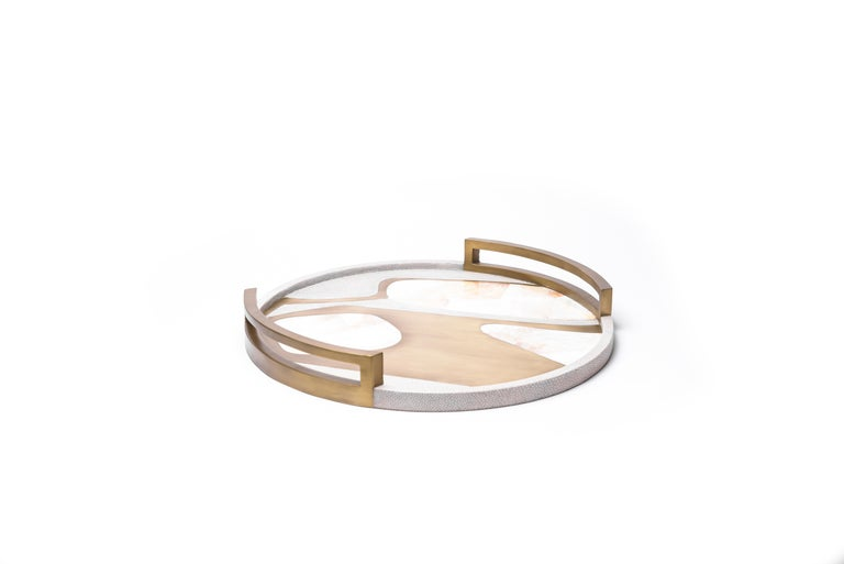 Art Deco Circular Cosmos Tray in Cream Shagreen, White Shell and Brass by R&Y Augousti For Sale
