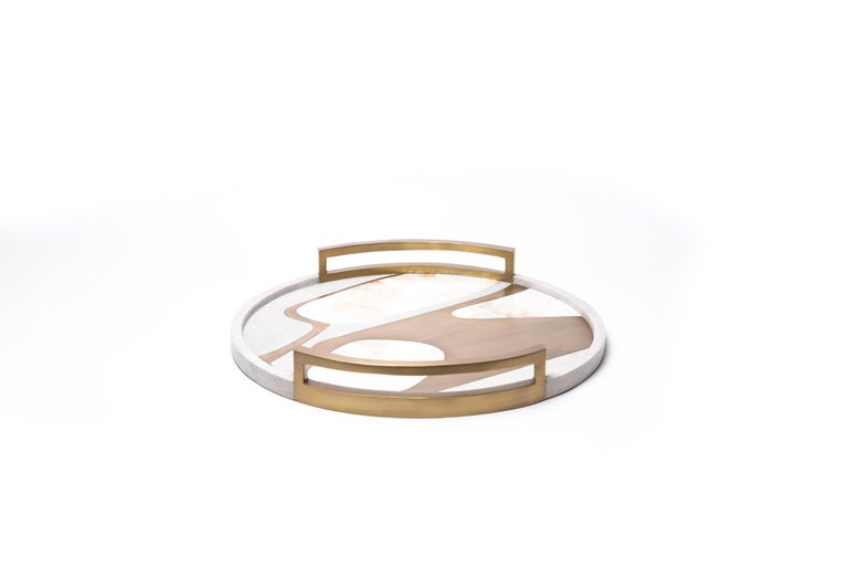 French Circular Cosmos Tray in Cream Shagreen, White Shell and Brass by R&Y Augousti For Sale