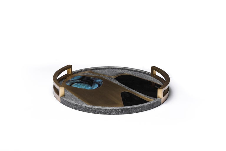 Hand-Crafted Circular Cosmos Tray in Cream Shagreen, White Shell and Brass by R&Y Augousti For Sale
