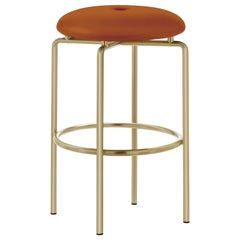 Circular Counter Stool in Satin Brass and Leather Designed by Craig Bassam