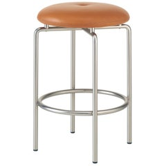 Circular Counter Stool in Satin Nickel and Leather Designed by Craig Bassam