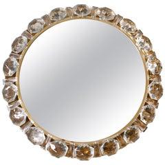 Circular Crystal Brass Palwa Mirror, Germany, 1960s