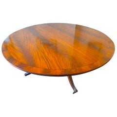 Circular 200cm Dining Table Early 1900s Figured Yew Top Mahogany Base Castors