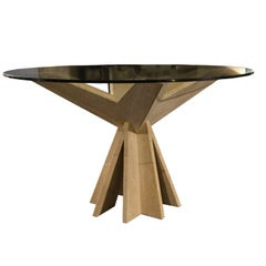Circular Dining Table in Travertine and Glass, Italy, 1970s
