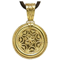 Circular Domed Iconic Emblem Gold Pendant 18 Karat Kabyle Tribal