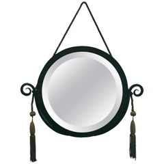Circular Early 1920s Ironwork Mirror in the Manner of Edgar Brandt