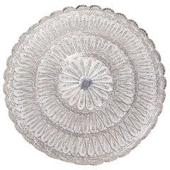Circular Filigree Solid Silver Serving Tray