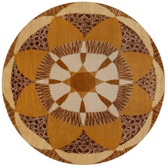 Circular French Art Deco Rug in Shades of Beige, Gold, Brown and Ivory