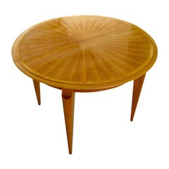 Circular French Cherrywood Expandable Dining Table Attributed to Baptistin Spade