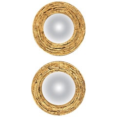 Circular Gilded Ceramic and Grey Glass Convex Mirrors