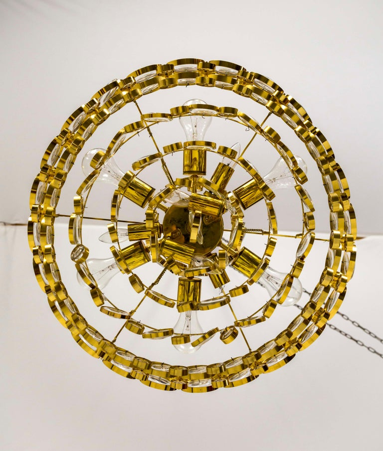 Circular Gilt Brass and Optical Lens Crystal Multi Tier Chandelier by Palwa 4