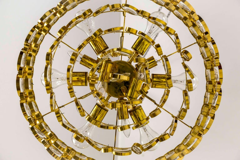 Circular Gilt Brass and Optical Lens Crystal Multi Tier Chandelier by Palwa 5