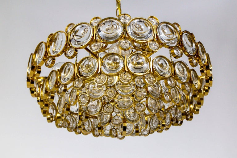 Mid-Century Modern Circular Gilt Brass and Optical Lens Crystal Multi Tier Chandelier by Palwa
