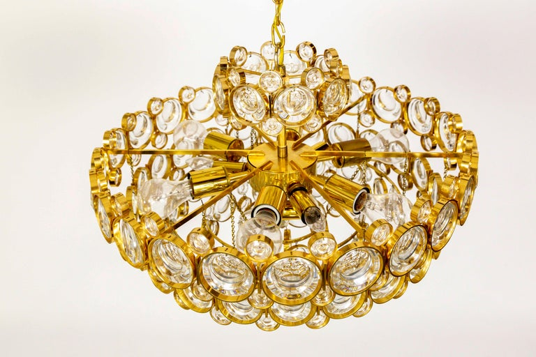 German Circular Gilt Brass and Optical Lens Crystal Multi Tier Chandelier by Palwa