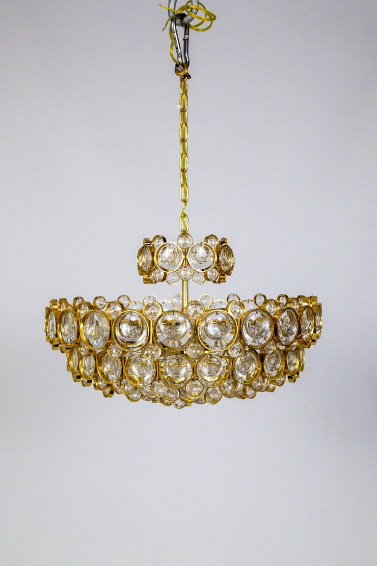 Circular Gilt Brass and Optical Lens Crystal Multi Tier Chandelier by Palwa In Good Condition In San Francisco, CA