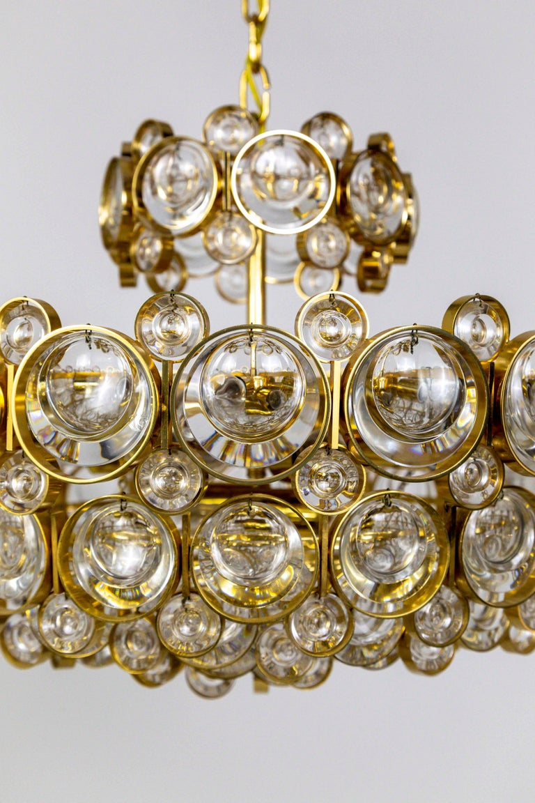 Circular Gilt Brass and Optical Lens Crystal Multi Tier Chandelier by Palwa 1