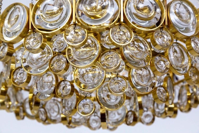 Circular Gilt Brass and Optical Lens Crystal Multi Tier Chandelier by Palwa 2