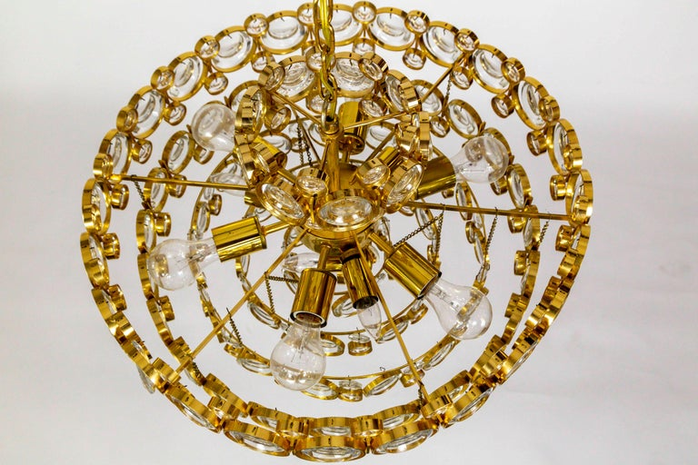 Circular Gilt Brass and Optical Lens Crystal Multi Tier Chandelier by Palwa 3