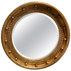 Circular Giltwood Mirror with Beveled Plate, Mid-Century