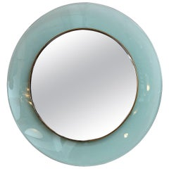 Circular Glass and Brass Mirror by Max Ingrand for Fontana Arte, circa 1960