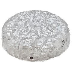 Circular Glass Flush Mount with Ice Block Pattern by Kaiser, Germany, 1970s
