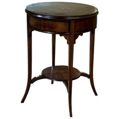 Circular Inlaid Drum Table with Rotating Top to Reveal Four Drawers