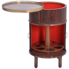 Circular Italian Mid-Century Bar Cabinet with Sliding Doors and Swiveling Tray