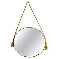 Circular Italian Midcentury Wall Mirror with Brass Frame and Satin Cord