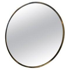 Circular Italian Mirror in Patinated Brass, 1950s