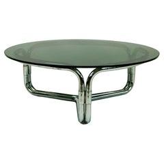 Circular Italian Space Age Chrome and Smoked Glass Coffee Table