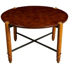 Circular Lacquered Wood Low Table by Jules Leleu