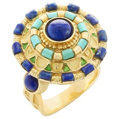 Circular Lapis and Turquoise Statement Ring, Enamel and 18 Karat Yellow Gold