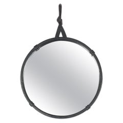 Circular Leather Wrapped Mirror in the Style of Pace