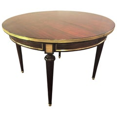 Circular Louis XVI French Jansen Style Dining Room Table with Bronze Mounts