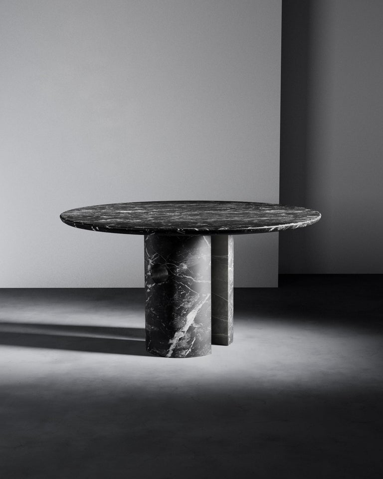 Contemporary Circular 52-Inch Black Marble Meta Dining Table by Phillip Jividen For Sale