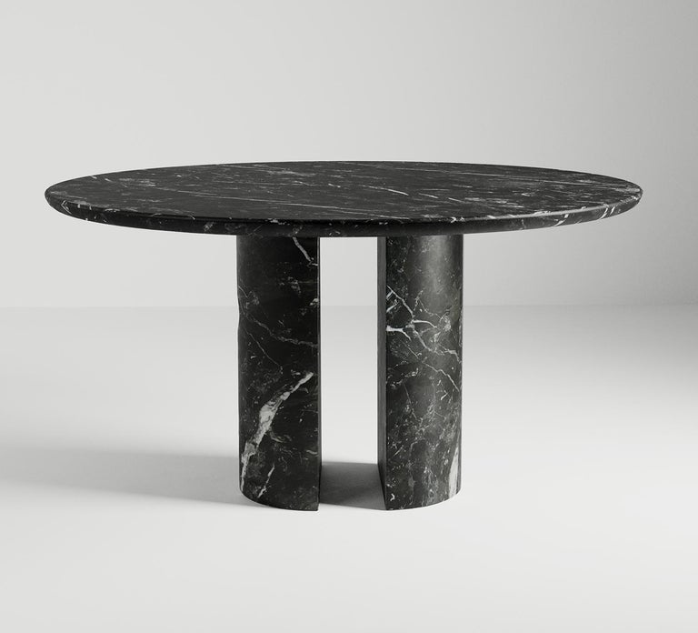 Minimalist Circular Meta Dining Table in Black Marble by Phillip Jividen For Sale